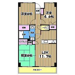 東京都世田谷区北烏山6丁目の賃貸マンションの間取り