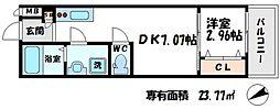 ドゥエリング大阪城北 6階1DKの間取り