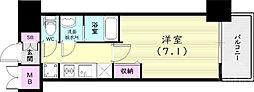 プレサンス兵庫ヴィアーレ 4階1Kの間取り