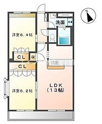 岡山県倉敷市羽島の賃貸アパートの間取り