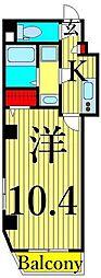 東武伊勢崎線 浅草駅 徒歩11分の賃貸マンション 4階1Kの間取り