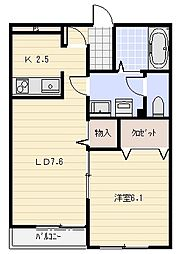 バリニーズ A棟[102号室]の間取り