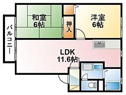 千葉県東金市広瀬の賃貸アパートの間取り