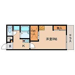 JR関西本線 王寺駅 徒歩16分の賃貸アパート 2階1Kの間取り