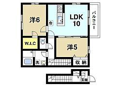奈良県奈良市大安寺5丁目の賃貸アパートの間取り