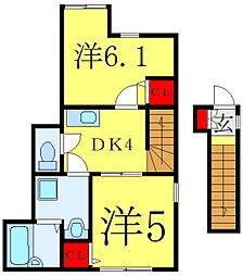 都営三田線 西巣鴨駅 徒歩8分の賃貸アパート 2階2DKの間取り