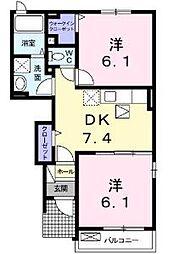 福岡県北九州市八幡西区茶屋の原2丁目の賃貸アパートの間取り