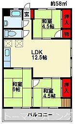カジカワマンション 2階3LDKの間取り