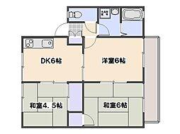 広島県広島市佐伯区屋代3の賃貸アパートの間取り