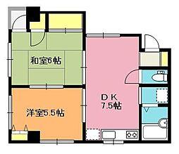 埼玉県北本市本宿5丁目の賃貸マンションの間取り