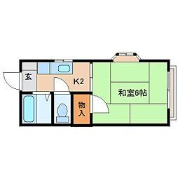 静岡県静岡市清水区西高町の賃貸アパートの間取り