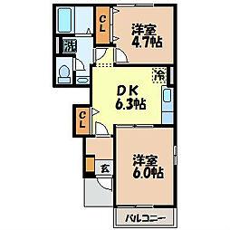 長崎県雲仙市吾妻町大木場名の賃貸アパートの間取り