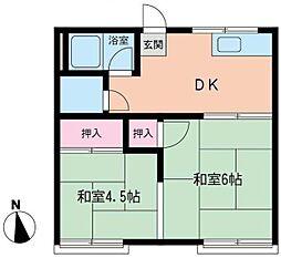 神奈川県横浜市泉区中田南5丁目の賃貸アパートの間取り