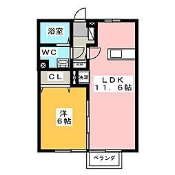 アルファーム A棟[1階]の間取り