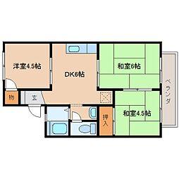 奈良県奈良市西大寺野神町2丁目の賃貸アパートの間取り