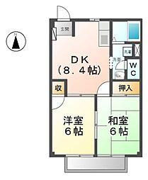 愛知県あま市中萱津大坊の賃貸アパートの間取り