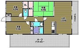 富田林グリーンマンション[5階]の間取り