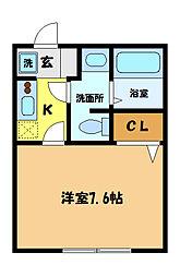埼玉県さいたま市中央区円阿弥7丁目の賃貸アパートの間取り