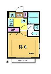 メゾンRYU 2階1Kの間取り