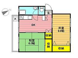 富士見町住宅23号棟[409号室]の間取り