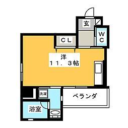 日商三島ビル 5階ワンルームの間取り