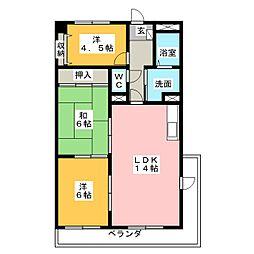 第2若杉ビル[6階]の間取り