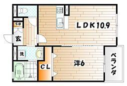 福岡県北九州市小倉南区長尾5丁目の賃貸マンションの間取り
