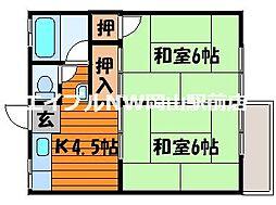 浮田コーポ[1階]の間取り
