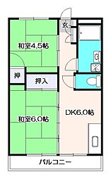 東京都西東京市向台町4丁目の賃貸マンションの間取り