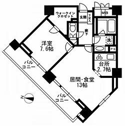 東京都千代田区二番町の賃貸マンションの間取り