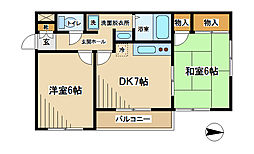 東京都府中市是政3丁目の賃貸マンションの間取り