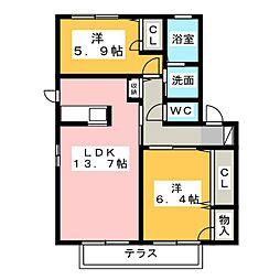 ヒュドールヒューレー D棟[1階]の間取り