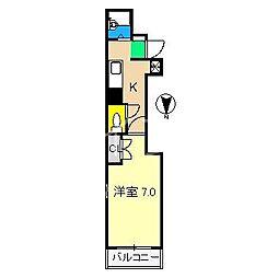 リヴィエラ上町III[4階]の間取り