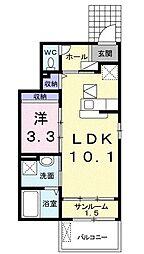 サンメリー・辻II 1階1LDKの間取り