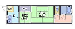 竹園荘[1階]の間取り