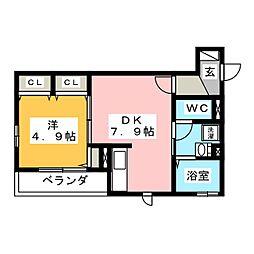 ヴェルデ横濱 1階1DKの間取り