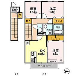 長崎県大村市富の原2丁目の賃貸アパートの間取り