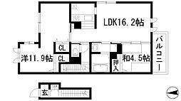グランチュイールB棟[2階]の間取り