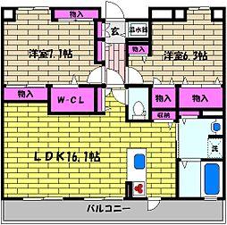 兵庫県芦屋市平田町の賃貸マンションの間取り