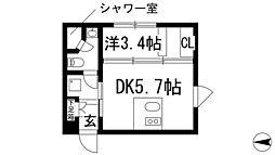ステーションスクエアさくら通り 2階1DKの間取り