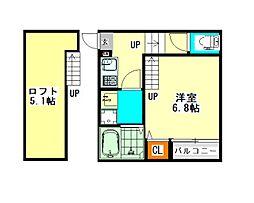 名古屋臨海高速あおなみ線 小本駅 徒歩7分の賃貸アパート 2階1SKの間取り
