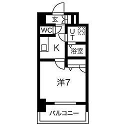 名古屋市営鶴舞線 大須観音駅 徒歩7分の賃貸マンション 4階1Kの間取り