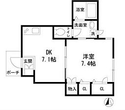 CHAMBRE NISHIKAMATA bt[1階]の間取り