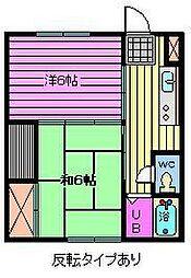 若葉荘[203号室]の間取り