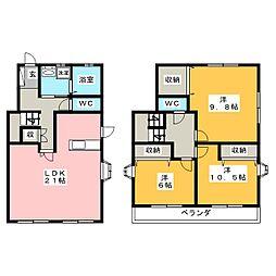[一戸建] 愛知県岡崎市上地1丁目 の賃貸【/】の間取り