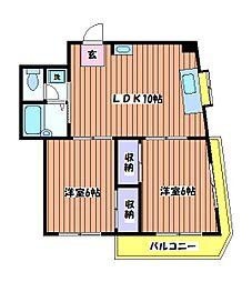 東京都昭島市玉川町2丁目の賃貸マンションの間取り
