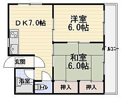 グローリーハイツ森田[4階]の間取り