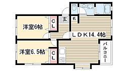 愛知県尾張旭市西山町2丁目の賃貸アパートの間取り
