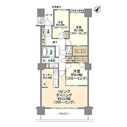 シティタワー品川 9階3LDKの間取り