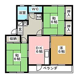 八軒パークハイツ[1階]の間取り